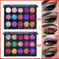 CmaaDu de maquillaje sombra de paletas de 15 colores diamante de las lentejuelas del brillo brillante de maquillaje de ojos 2 estilos