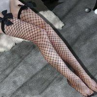 Calcetines Hosiery Sexy Femenino Top Top Stay Up Muslo Alto Medias Hueco Out Malla blanca Nylon Negro Sobre Rodilla Almacenaje Lencería