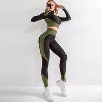 2 قطع سلس اليوغا دعوى للنساء طويلة الأكمام سستة اليوغا مجموعات جديد مخطط رفع رياضة طماق اللياقة البدنية رياضية تجريب مجموعات T200411