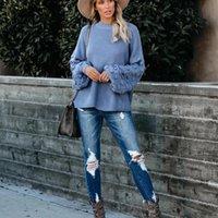 Frauen winter lose feste farbe laterne langarm pullover gestrickt pullover top