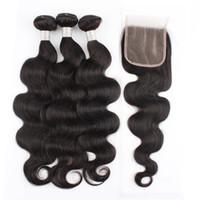 Wholesale 9A Paquetes de cabello humano con cierre Cuerpo recto Ola de aguas profundas Pelo virgen brasileño 3 Tejido paquetes de trama con cierre de encaje