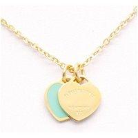 DISEÑO CALIENTE Nueva marca Collar de amor corazón para mujeres Accesorios de acero inoxidable Zircon verde rosa Corazón Collar para mujer Regalo de joyería T1m3