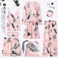 Pijama pijama, primavera, otoño, mangas largas, camisones de algodón puro kimono, siete piezas, verano invierno sexy vestina ropa y200425