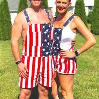 Мужчины Джинсовый комбинезон Пара американский флаг джинсы шорты Печать Комбинезон Карманный Шорты Romper Кнопка Короткие штаны Streetwear @ C19