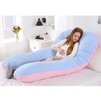 Tam Vücut Yastık, U-Şekilli Annelik Yastık + Mavi Pembe Forma Koruyucu Kapak1