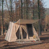 Tiendas y refugios Al aire libre Glamping Tela de algodón Techo Techo Techo Techo Tienda 5-8 Persona con equipamiento de engranajes de camping de lluvia