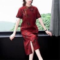 Etnik Giyim Elbise Kadın Marka Tasarım Noble Ince Artı Boyutu Cheongsam Etek Ziyafet Günlük Bayanlar Giysileri Vestido Chino Kadınlar Robe1