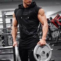 Homens Alta Elasticidade Fitness Vest Bodybuilding Bodybuilding Tanque Muscle Muscle Body Sleeveless Hoodies Vest Undershirt Stringer Roupas1