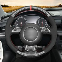 Schwarzer Wildleder-PU-Kohlefaserlenkradabdeckung für Audi A1 8X A3 8V A4 B8