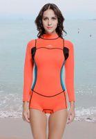 Épaissir longue manches en néoprène de 2 mm Kite Surf Plongée Wetsuits Costume humide Femmes Natation Maillots de bain maillot de bain
