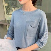 Nuovo arrivo Aslea Rovie regolare O-collo del manicotto del Batwing Tasche Office Lady Mezza Patchwork Nessuno Cina (continente) sottili Ages 18 201017