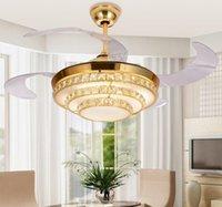 Modern Stealth Mute Fan Fan Lame Crystal потолочный вентилятор Telecontrol вентиляторная лампа в ресторане 42 дюйма невидимых лезвий потолочных вентиляторов