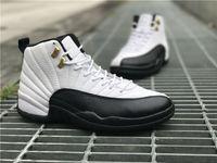 Jumpan Union 12 Chaussures de basket Basket Taxi Bouton d'or noir et blanc Original Factory Logo XII XII VRAI-Carbon FIBRE Fashion Baskets
