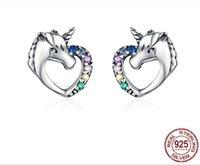 여성에 대한 비 알레르기 귀여운 유니콘 동물 모양 절묘한 귀걸이 스터드를 설정 순수 실버 925 색 다이아몬드 프롱