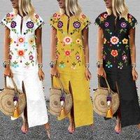 2020 ZANZEA Robe longue imprimée été Robe Femmes longues pour femmes Vestisos à manches courtes Glands col en V profond de Split Plage Robe