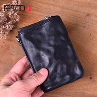 AETOO Short wallet men's leather retro old first layer leather men's wallet youth vintage personality vertical zipper