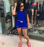 İki Parçalı Elbise Tmustobe Rahat Moda Katı Renk Takım Elbise Kadınlar Için Set Yaz Sokak T-shirt + Lace Up Ripped Şort Suit1