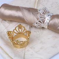 Forma de la corona del anillo de la servilleta de la corona con el soporte de la servilleta del diamante de imitación para la decoración de la mesa de la boda del hogar Hebilla de la servilleta