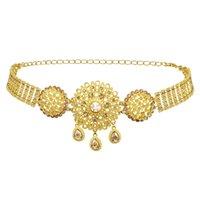 Stile indiano 14k placcato oro placcato in metallo cristallo fiore turchese catene di pancia danza estate spiaggia sexy gioielli del corpo