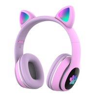 新しい到着LED猫の耳のノイズキャンセリングヘッドフォンBluetooth 5.0の若者子供のヘッドセットサポートTFカード3.5mmプラグマイク