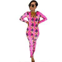 새로운 섹시한 WAP Onesie 잠옷 긴 Jumpsuit Sleepwear 긴 Romper Bodycon 성인 여성 스트라이프 인쇄 Bodysuit 섹시한 란제리 속옷