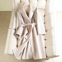 Automne hiver longs manteaux avec courroie longue enceinte de laine pour femmes manteau de couleur solide de haute qualité