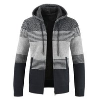Herrenpullover Pullover Mantel 2021 Frühling Herbst Herren Kapuze Streifen Dicke Reißverschluss Wolle Wolligan Jumper männlich