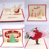 4 Styles 3D Pop Up Merry Chirstmas Greeting Cards Santa Claus Deer Snowman Christmas house Gift Card