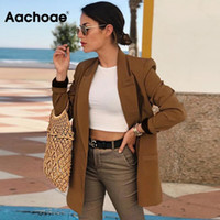 Aachoae Women Vintage Double Breasted Blazer Work Office Lady Suits Slim Coat Jacket Long Sleeve Ladies Blazers Female 201008