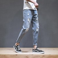 Wholesale 2021 Fashion Denim Jeans men's brand summer thin Korean small feet hole beggar casual all-match ankle length pants