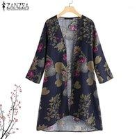 Frauen Blusen Hemden 2021 Zanzea Frauen Strickjacke Sommer Vintage Böhmische Kimono Beiläufige Lose Floral Baumwolle Leinen Outwear Tops Plus Size1