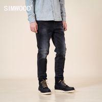 Simwood Outono Inverno Novo Slim Fit Cadeiras Calças De Jeans Preto Calças Calças Clássica Jean de Alta Qualidade Marca Roupas SJ130915 201117