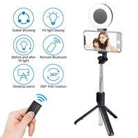 Treppiedi 2021 360 ° 360 ° Rotary Selfie Ring Light Extendable Stick Treppiede a treppiede con supporto per telefono monopod per smartphone