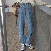Zhisilao Straight High Winest Jeans Mulheres Vintage Plus Size Solta Namorado Largura Perna Denim Calças Streetwear Mamãe Jeans 20211