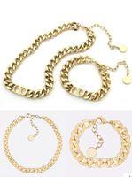 Venda superior letra 14K ouro cubano link colar pulseira gargantilha para homens e mulheres festa amantes presente hip hop jóias com caixa