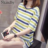 NKANDBY PLUS Размер красочные полосатые женские футболки летняя одежда леди вершины негабаритные базовые футболки с коротким рукавом футболка FEMME1