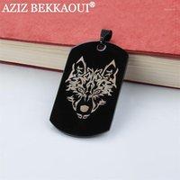 Кулон ожерелья DIY буквы логотип собака метка из нержавеющей стали армия ID ожерелье черный / синий / золотой / розовый золотой цвет1