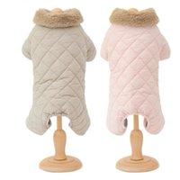 개 의류 겨울 점프 슈트 네 다리 따뜻한 옷 모피 칼라 애완 동물 복장 강아지 의상 작은 의류 코트 자켓 바지 바지