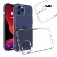 2mm Kalınlığı Temizle TPU Zırh Kılıf iphone 12 Mini Pro Max Samsung S20 FE S21 Artı Ultra A01 Çekirdek M01 M51 M31S A42 A12 A32 A52 A72 5G