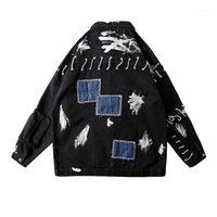 Uncledonjm Patch Jean Gooke Мужчины Мужчины Ковбой Свободная подходящая бомбардировщик Куртка мужская разорванная Джин хип-хоп Streetwear Coats T-0841