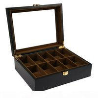 10 Gitter Holz Uhrenbox Schmuck Display Lagerhalter Organizer Uhren Fall Schmucksachen