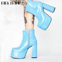 부츠 ribetrini 숙녀 블록 뒤꿈치 지퍼 캔디 컬러 패션 신발 라운드 발가락 플랫폼 발목 여성 펑크 겨울