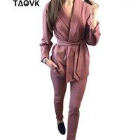 Duas peças Vestido Taovk Escritório Senhora Pant Conjuntos das Mulheres Conjuntos Cinto Blazer Topo e Lápis Calças Outfits Femme Ensemble Pantsuit Primavera 20211