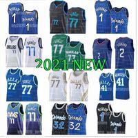 77 Doncic كرة السلة الفانيلة Luka Tracy Penny 1 Hardaway McGrady Dirk 41 Nowitzki Retro Blue Black 20 21 Men Jersey 2021