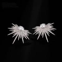 Punk-Spitzen-Ohrring pflastern Zirkonia Brinco Grün Stein Sparkly Star Galaxy-Bolzen-Ohrringe löschen silberne Farbe