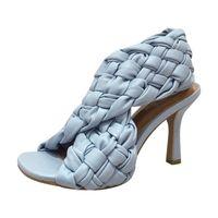 Nova Moda Europeia e Americana Tricando Sandálias High-Heeled Sandálias Redonda Cabeça Slim Salto Romano Salto Slim Mulheres Sapatos