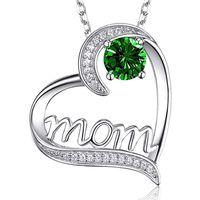 Silver Diamond Mom Heart Necklace Love Colgante Joyería de moda Día Madre Regalo Will y Sandy