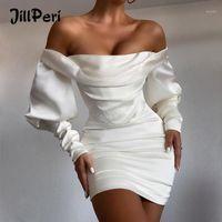 Robes décontractées Jillperi Off Spot Hook Handes Satin Satin Corset Robe Modycon Robe d'hiver Célébrité Sexy Outfits Anniversaire Fête Dress1