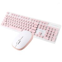 104 touches Réponse rapide 2.4GHz Mécanique Mécanique Sentier confortable Type de clavier sans fil Combo de souris pour Windows 7 / 8/10 / (rose) 1