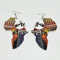 매달아 샹들리에 자연 나무 아프리카 대륙지도 코끼리 편지 인쇄 귀걸이 나무 패션 아프리카 힙합 민족 부족 복고풍 JE